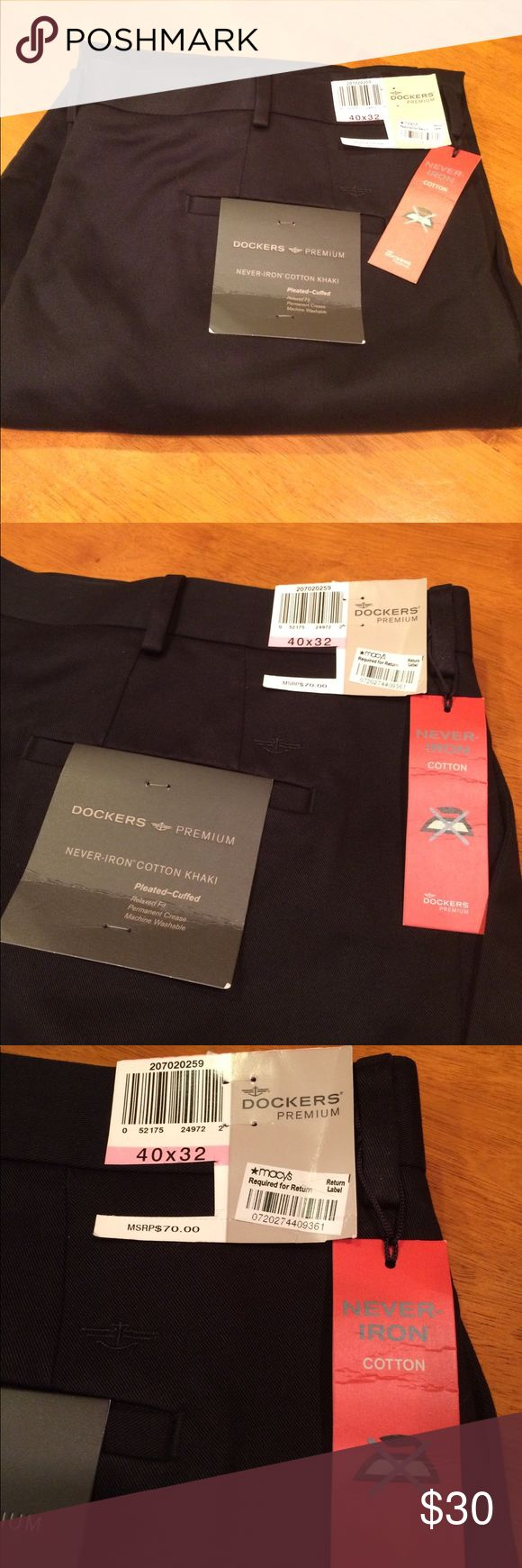 Premium Dockers - NWT size 40/32 Brand new with tags! Posting for my neighbor. Funny how she heard I like Poshmark and she asked me to post these. Bought while they were away and her husband never wore them. Still have Macy's return label on them. We are in Key West. Closest Macy's is a 4 hour drive. That's not happening!  Super nice Docker's! Dockers Pants Chinos & Khakis