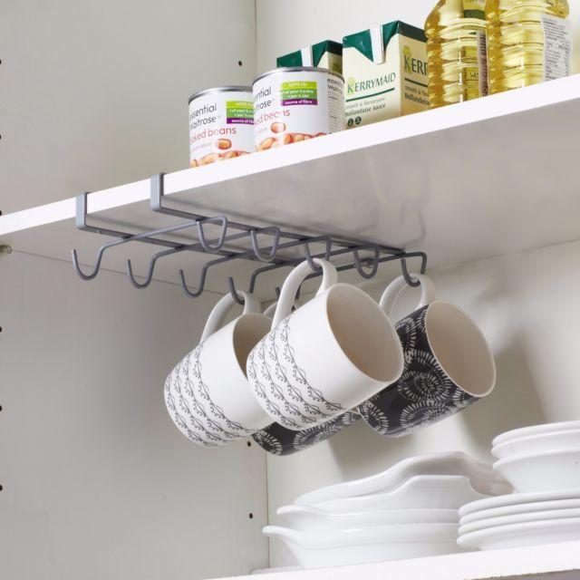 Kitchen Organization Rack Wall Mount Coffee Cup Mug Cupboard Holder Shelf Hanger