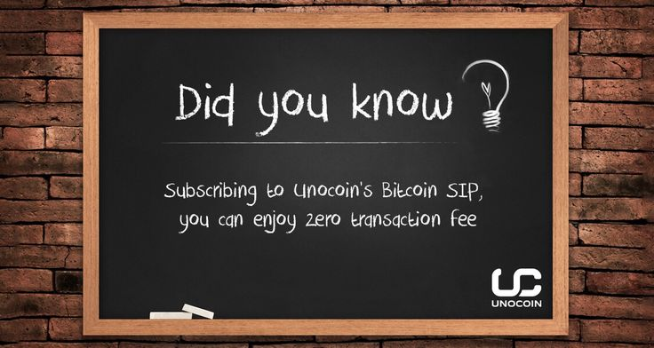 .Unocoin charges zero transaction fee for buying/selling under the Systematic Investment Plan for #bitcoin