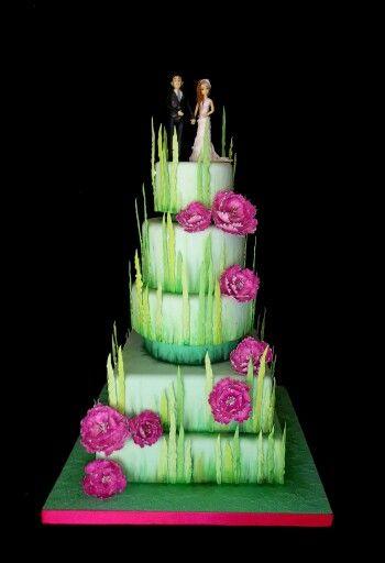 Sprkng theme  5 tier wedding cake. Peonies. Green grass