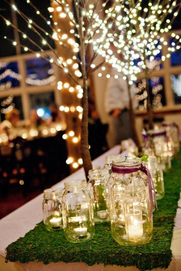 lights lights lights: Centerpiece, Idea, Floral Design, Teas Lights, Lights Lights, Lights Branches, Tables Runners, Mason Jars Candles, Jars Lights