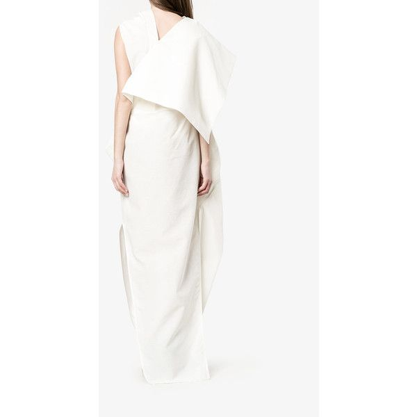 Rick Owens  draped asymmetric dress (2 310 AUD) ❤ liked on Polyvore featuring dresses, long dresses, night out dresses, going out dresses, white asymmetrical dress and long slit dress