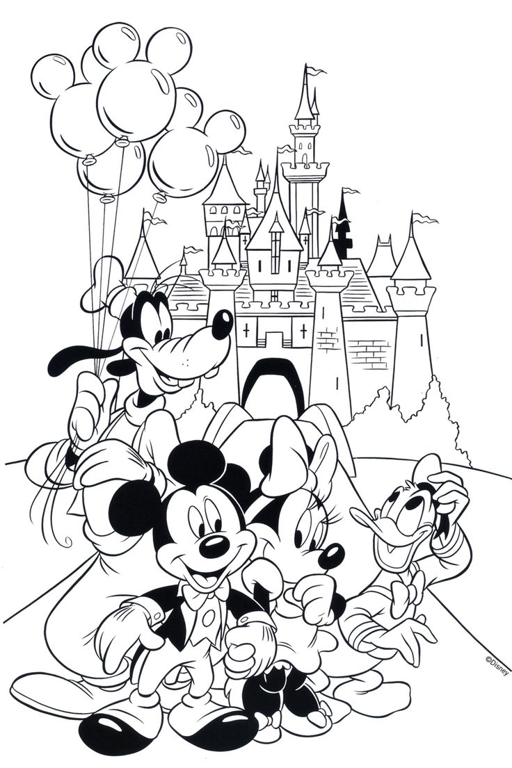 free disney coloring page features cinderellas castle and all the gang at walt disney world printable