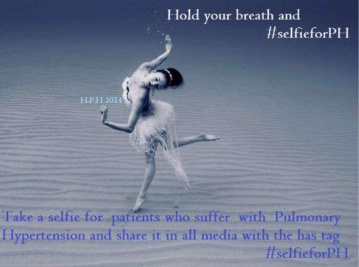 Hold your breath and take a selfie to support patients who suffer with the Rare Disease of Pulmonary Hypertension.  Just hold your breath for one ''click'' and share it in all media with hastag #selfieforPH  **** Breath like us Feel like a PHer ****