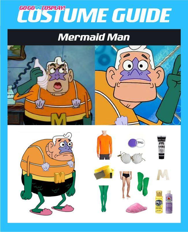 Mermaid Man Costume With Seashell Bra Diy Guide For Cosplay Mermaid Man Costume Mermaid Man Diy Costumes Men