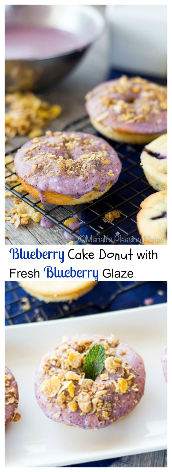 A baked blueberry donut that can compete with any donut store. This cake donut is full of fresh blueberries, a hint of lemon and a dreamy blueberry glaze.