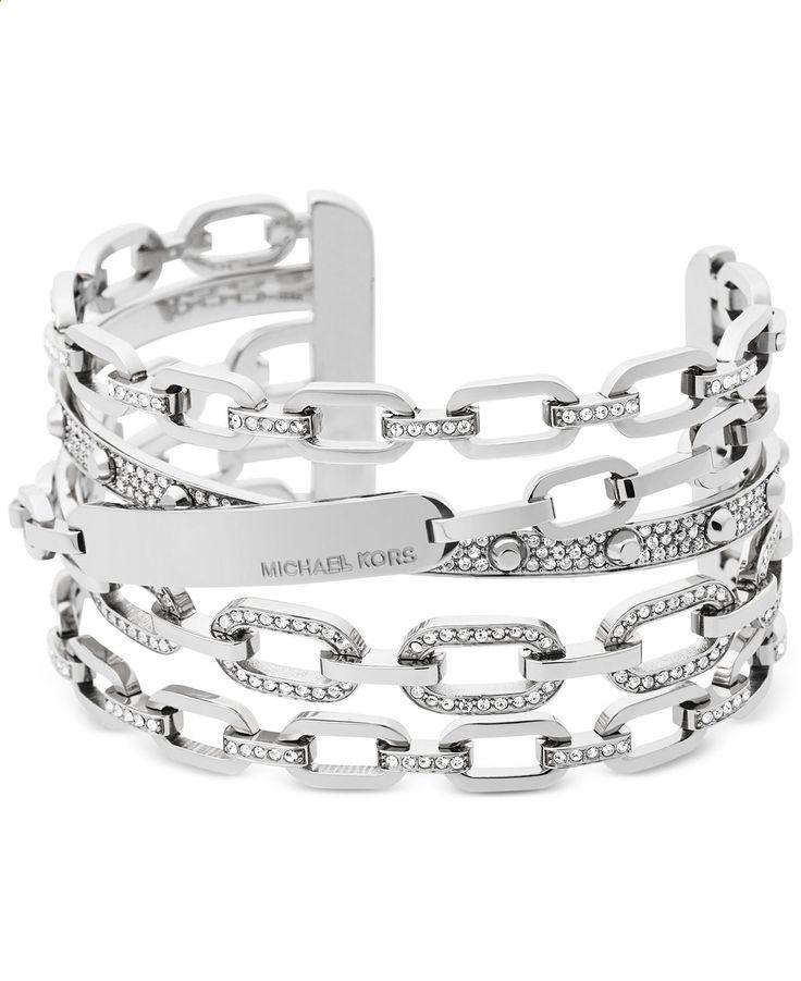 Michael Kors Chain Link Silver-Tone Statement Cuff Bracelet - Jewelry Watches - Macys