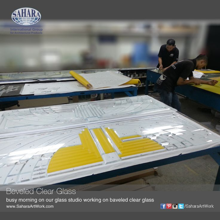 Earlier today from our studios!New beveled glass getting fabricated for one of our projects in Dubai