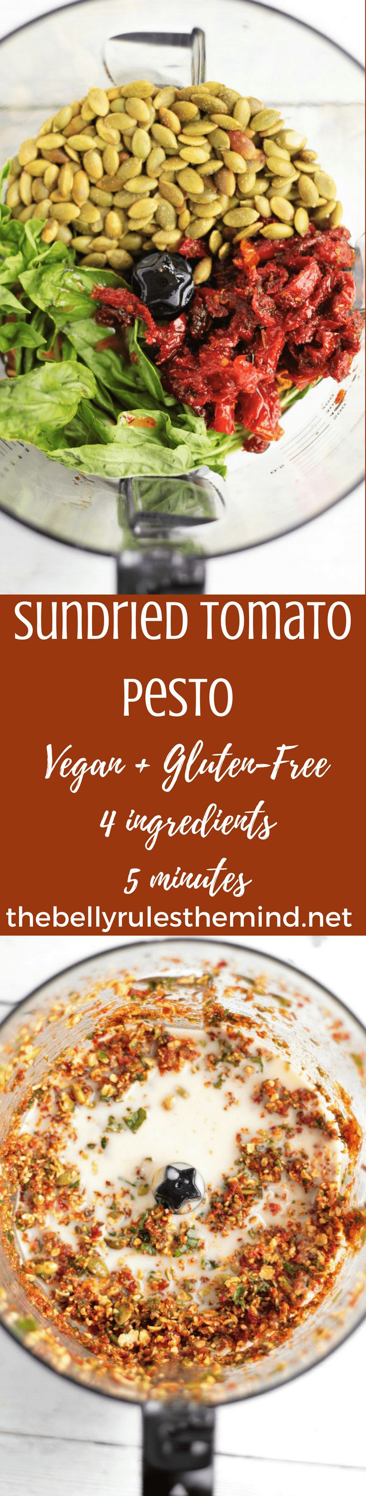 OurVegan Sundried Tomato Pesto is just what you need for a quick dip, spread or drizzle. 4 simple ingredients. 10 minutes. Gluten-Free.#SoDelicious #ad#SDOrganicAlmondmilk |@bellyrulesdmind #vegan #glutenfree #5 ingredients #10minutes #dip #spread #snack #recipe