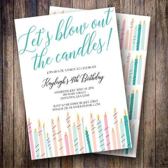 36 best Birthday Party Invitations images – Candle Party Invitations