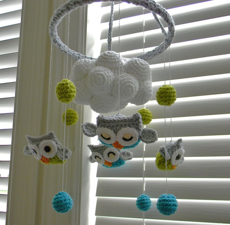 Cute  :)  Adam would die if I paid this much... anyone need a crochet project? ;)    Owl crochet Mobile. $110.00, via Etsy.