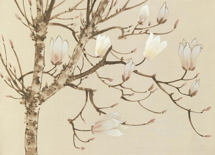 magnolia - 20th century, Handmade Wallpaper - Fromental
