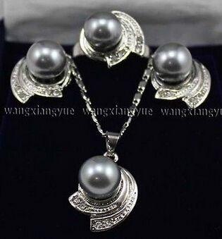 10 мм серый юг морские раковины жемчужные серьги кольцо и ожерелья комплект ааа стиль > прекрасный женская свадебные украшения довольно