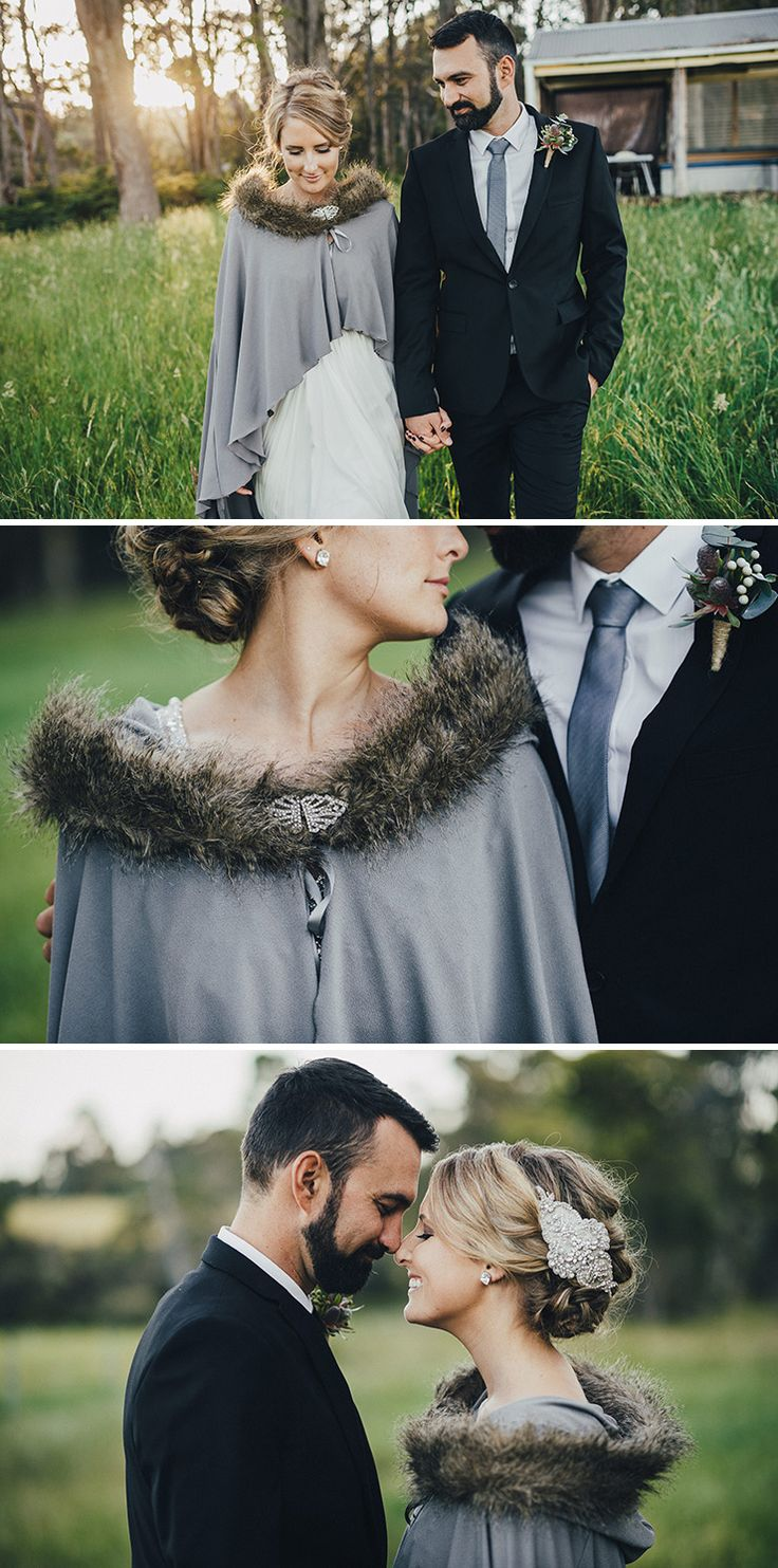 Romantic soft grey winter wedding bridal cape | iZO Photography | See more: http://theweddingplaybook.com/romantic-australian-bush-wedding/