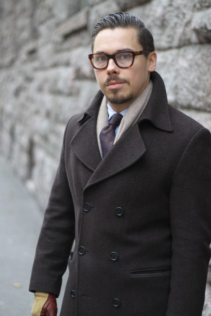 Gray flannel suit with brown overcoat - Herringbone patterned wool overcoat with cashmere scarf