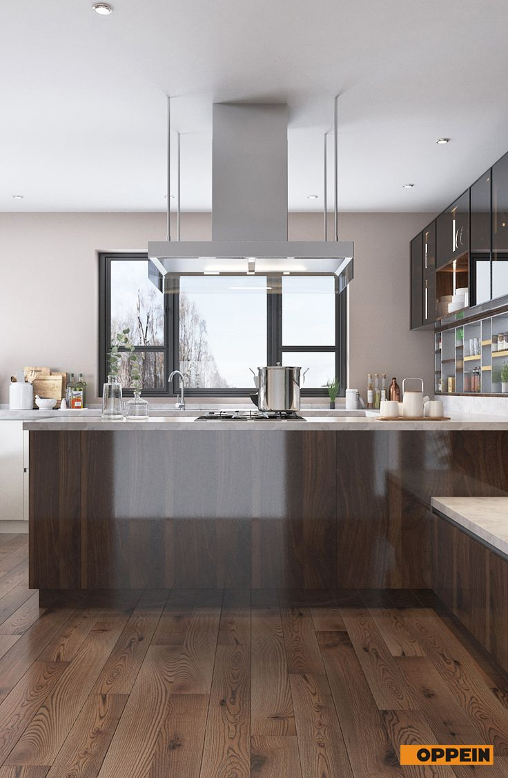 wood brown high gloss uv lacquer kitchen cabinet open to the living room the showcase and the on kitchen cabinets design id=71334