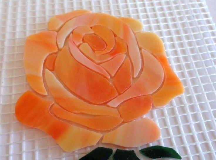 Precut Stained Glass Art Mosaic Inlay STEMMED ROSE Kit Tile Garden Stone - 41 pc