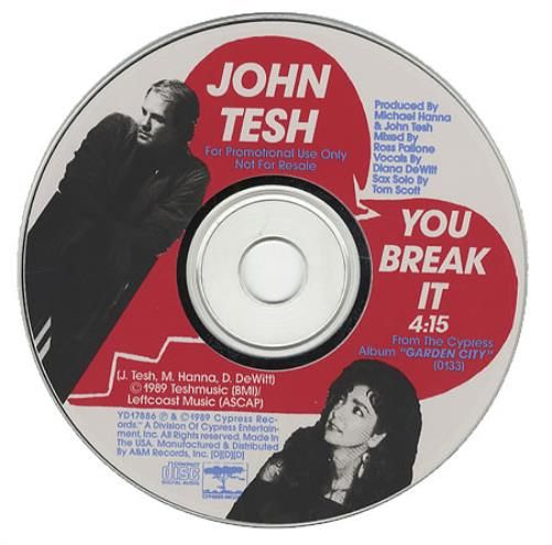 John Tesh You Break It 1989 USA CD single YD17886: JOHN TESH You Break It (US 1-track promo picture CD with facsimile handwritten note from…
