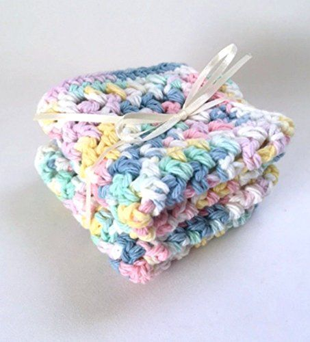 #manythings.online Delicate pretty pastel #Baby Wash Cloths that are crocheted from natural cotton. Soft natural cotton wash cloths for #baby. Handmade Set of Two...