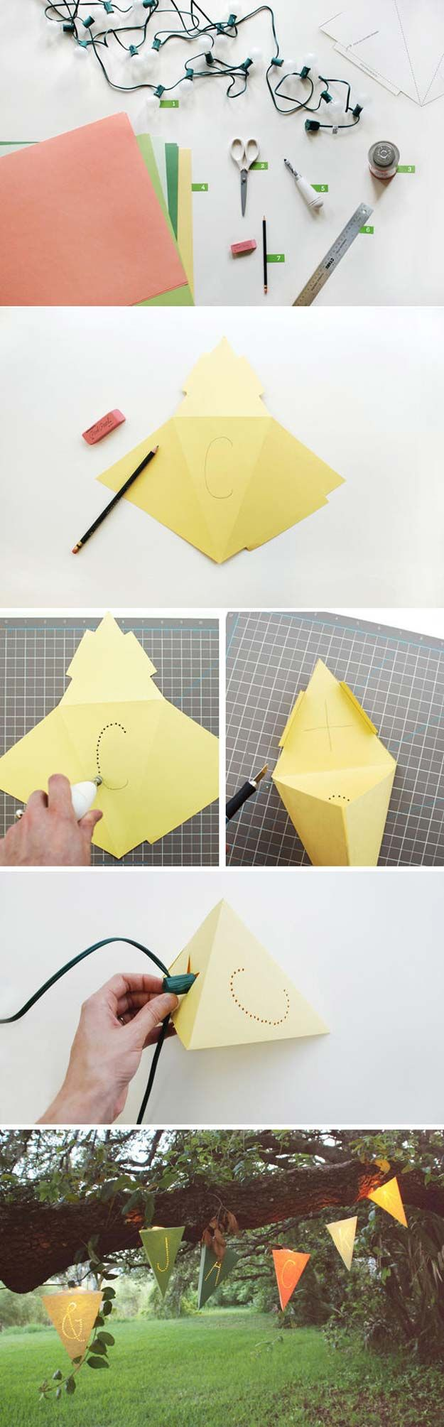 Guirnalda geométrica DIY para tus fiestas - oncewed.com - DIY Geometric Lights