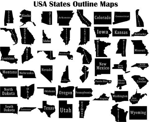 USA States Outline Maps - DXF files Cut Ready CNC Designs - DXFforCNC.com,  It is magic elements of your garden and home decor. These files contain collection of 50 files of USA States Outline Maps, package with the state name and other package with solid maps (Alabama, Alaska, Arizona, Arkansas, California, Colorado, Connecticut, Delaware, Florida, Georgia, Idaho, Illinois, Indiana, Iowa, Kansas, Kentucky, Louisiana, Maine, Maryland, ...