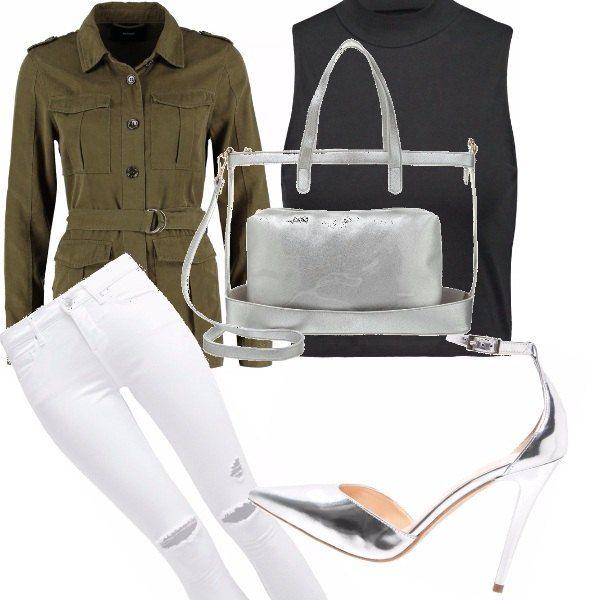 Come fashionizzare lo stile militare....abbinando una giacca in verde militare ad un top nero, uno jeans skinny bianco, un paio di decolletè in silver e borsa shopper in pvc trasparente e silver. Look adatto a svariate occasioni, senza passare inosservate