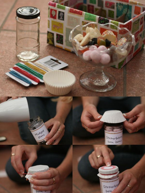 DIY gifts ~ sweet jars - perfect for wedding favors, birthday gifts, party bags and valentines! So simple, you really must try this at home.