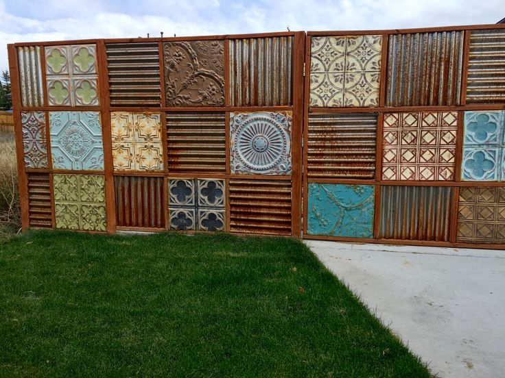 Tin Ceiling Tile And Corrugated Steel Fence Project My