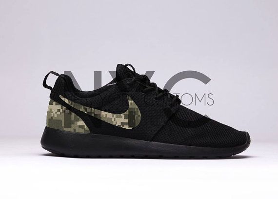 Digi Camouflage Nike Roshe Run Triple Black Army Camo by NYCustoms