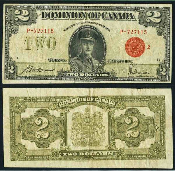 Currency Dominion of Canada 1923 Two Dollar Banknote DC-26g or Pick 34g Price of Wales Edward in Center