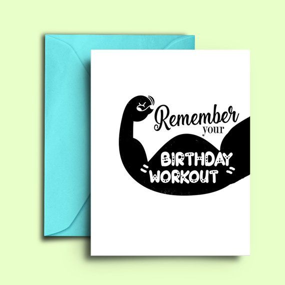 Printable Diy Fitness Birthday Card For Workout Cross Fit Trainer