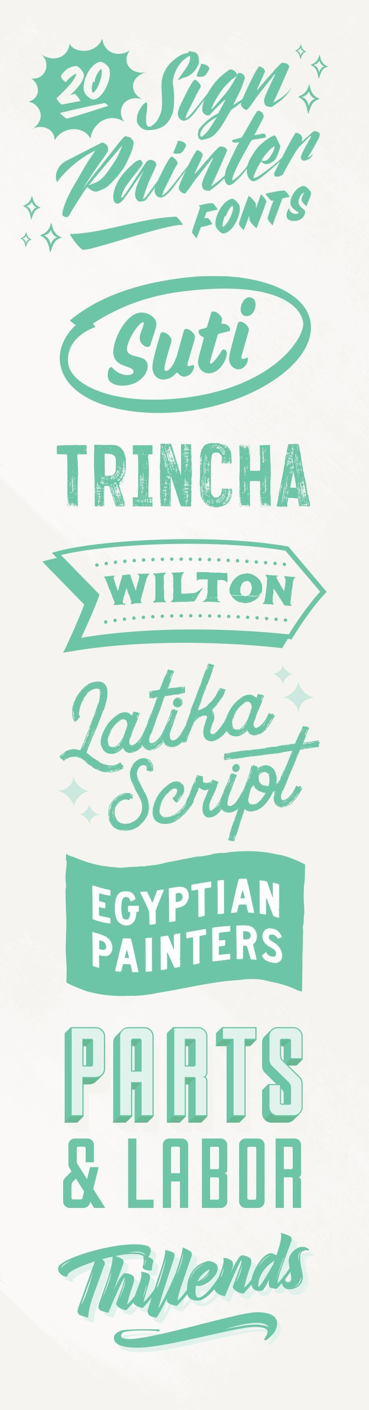 NEED FRESH FONTS? __ On the Creative Market Blog - 20 Sign Painter Fonts to Create Labels, Signs, and Cards
