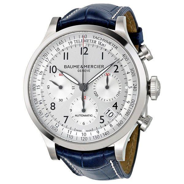 Baume and Mercier Capeland Silver Dial Chronograph Blue ...