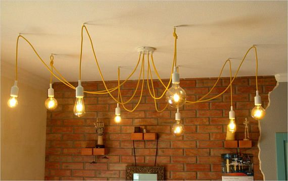 36 best fabric cable big chandeliers images on pinterest big sunny mood yellow chandelier with 8 tails easy mounted yellow textile covered wires with bulbs aloadofball Image collections