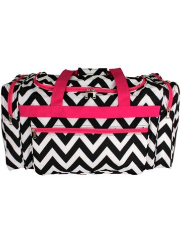 $9.00 Black Chevron with Pink Trim Duffle Bag... Would be cute to store in a blanket and or extra pair of clothes in case of emergency in car trunk