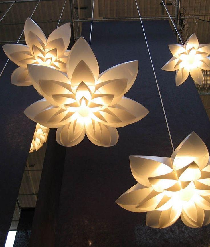 Lily flower lamp pendant light pp shade diameter lotus lampshape diy lampshade bedroom shops led light fixture