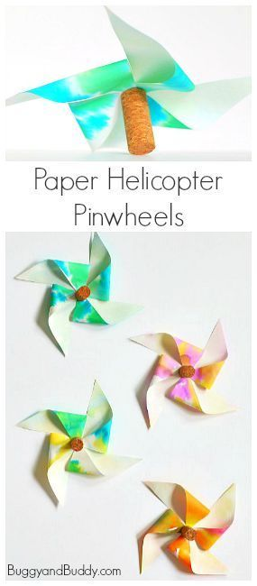STEM and STEAM Activity for Kids: Paper Helicopter Pinwheels ~ http://BuggyandBuddy.com