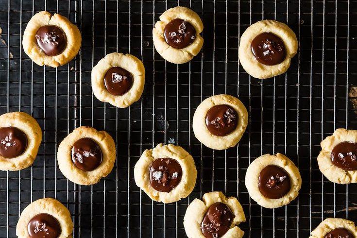 Almond Thumbprint Cookies with Dark Chocolate and Sea Salt recipe.