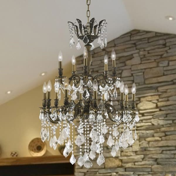 Versailles Collection 15 Light Antique Bronze Finish And Clear Crystal Chandelier