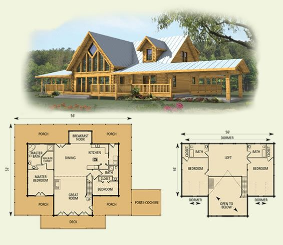 spring hope log home and log cabin floor plan.... How gorgeous !! Love this too! Like the open lofts