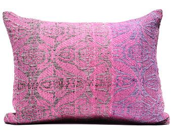 NEON PINK rectangle PILLOW cover 40x50 Hot Pink Pillow Patio Furniture Seating Magenta eclectic home design bed pillow cases neon pink