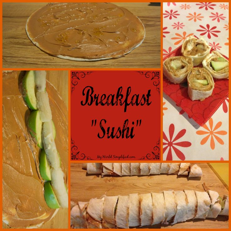 "Breakfast ""Sushi"" I tend to purchase to many tortilla shells. They don't last long once you open that package either. Here is one way we figured to use some of them up. The kids c…"