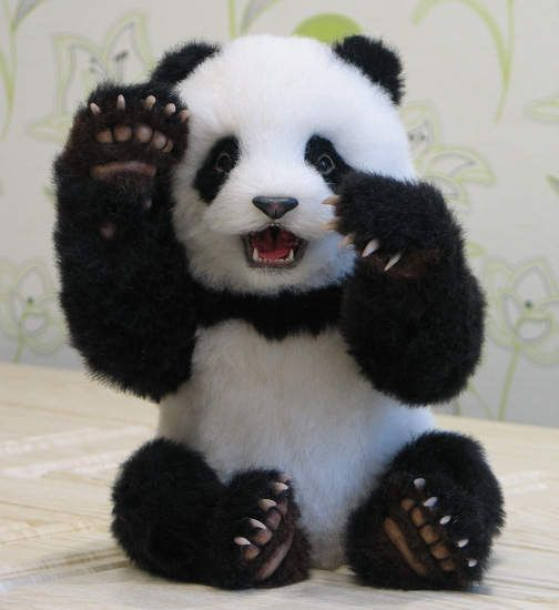 Xiao LiWu Panda By Inessa Shakhova - Xiao LiWu Panda 14.1 inch (36 cm) Xiao LiWu is a little charming panda boy. His name means a small gift. Standing height of 36 cm, sitting 26 cm.Can not stand. It is created from the alpaca of Shulte. Only handwork. The nose, jaws, and claws are molded fr...