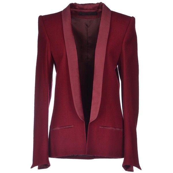 Haider Ackermann Blazer ($490) ❤ liked on Polyvore featuring outerwear, jackets, blazers, maroon, haider ackermann, flannel jacket, long sleeve blazer, maroon blazer and flannel blazer