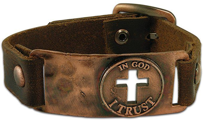 """A leather bracelet for Christian men, inspired by Psalm 91:2, and reads, """"In God I Trust"""". Men's fashion with a message."""