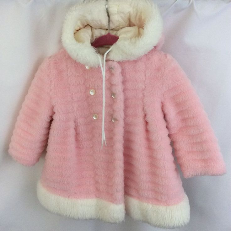 True Vintage Sears Girls Winter Coat 50-60's Pink Faux Fur Hooded Toddler 2T 3T  #Sears #SpecialOccasion