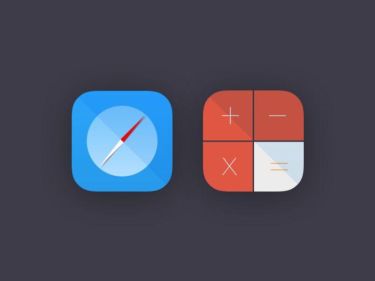 Flat Icons / Flat Design / Icons / Pictograms / Symbols / Safari / Calculator