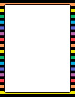 Rainbow And Black Striped Border Borders Page Borders
