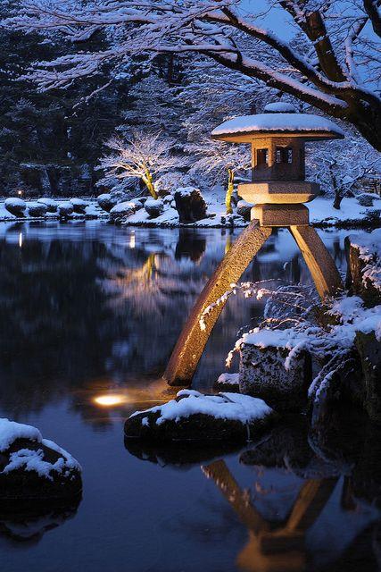 Winter in Kenroku-en Garden, Kanazawa, Ishikawa, japan