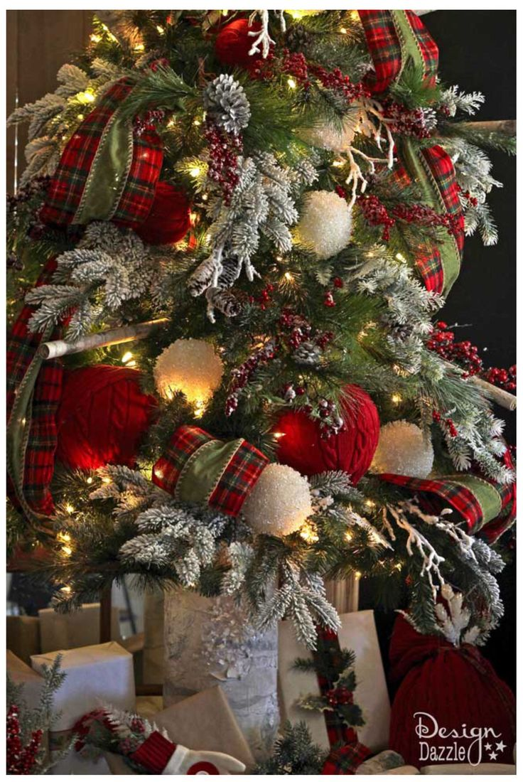 Rustic cabin christmas decorations - Love The Red Sweater Ornament Balls Mixed With Fluffy Snowball Ornaments 2016